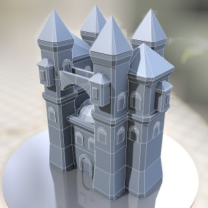 Papercraft castle, built with Cinema4D and Pepakura