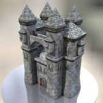 papercraft papiermodell castle schloss cinema4d c4d pepakura burg 3d model modellbau low poly modeling