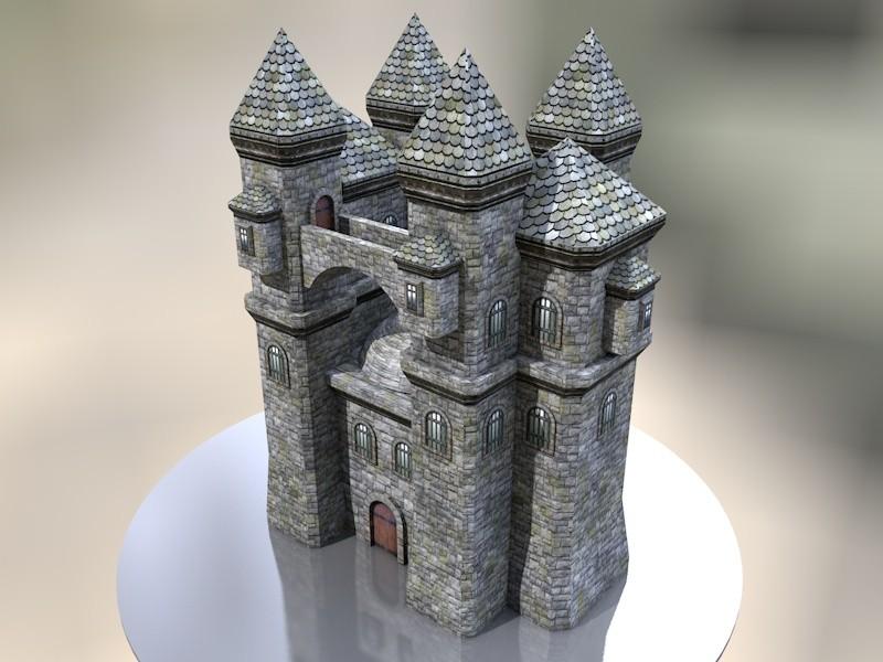 Papercraft castle, built with Cinema4D and Pepakura